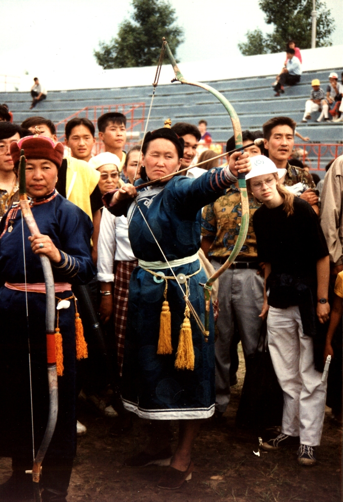 Mongol woman archer in competition at Nadaam, Ulan Bator, 1992